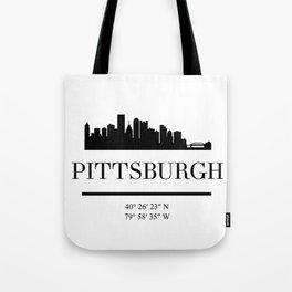 PITTSBURGH PENNSYLVANIA BLACK SILHOUETTE SKYLINE ART Tote Bag