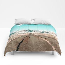 Vintage Desert Road // Winter Storm Red Rock Canyon Las Vegas Nature Scenery View Comforters