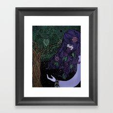 Purpled Haired Girl Framed Art Print