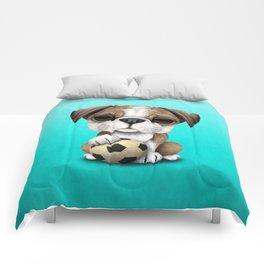 Cute British Bulldog Puppy With Football Soccer Ball Comforters