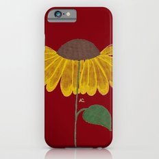 Yellow flower on a burgundy background Slim Case iPhone 6s