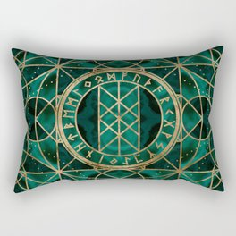 Web of Wyrd The Matrix of Fate - Gold and Malachite Rectangular Pillow