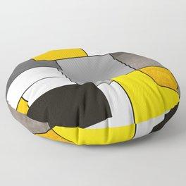 Black Yellow and Gray Geometric Art Floor Pillow