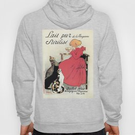 Vintage Art nouveau French milk advertising, cats, girl Hoody