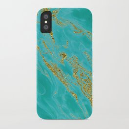 Luxury and glamorous gold glitter on aqua Sea marble iPhone Case