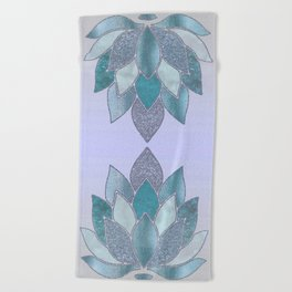 Elegant Glamorous Pastel Lotus Flower Beach Towel