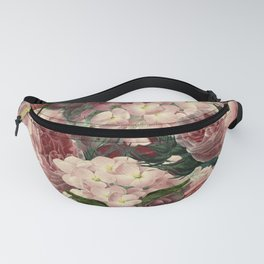 Vintage & Shabby Chic Pink Dark Floral Roses Lilacs Flowers Watercolor Pattern Fanny Pack