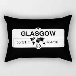 Glasgow Scotland GPS Coordinates Map Artwork with Compass Rectangular Pillow