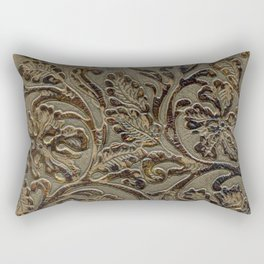Olive & Brown Tooled Leather Rectangular Pillow