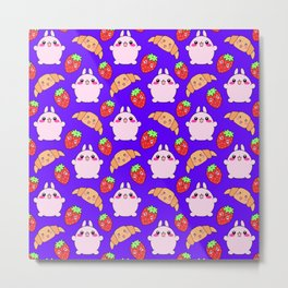 Cute happy funny pink baby bunnies, sweet adorable yummy Kawaii croissants and red ripe summer strawberries cartoon blue pattern design Metal Print
