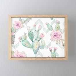 Cactus Chevron Southwestern Watercolor Framed Mini Art Print