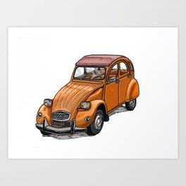 Orange 2CV Art Print