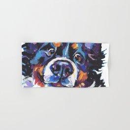 Berner Bernese Mountain Dog Portrait Pop Art painting by Lea Hand & Bath Towel