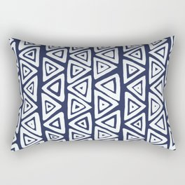 Navy Blue & White Tribal Pattern Rectangular Pillow