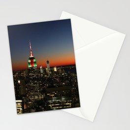 Sunset over panoramic NYC Manhattan Stationery Cards