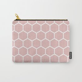 White and neutral beige honeycomb pattern Carry-All Pouch