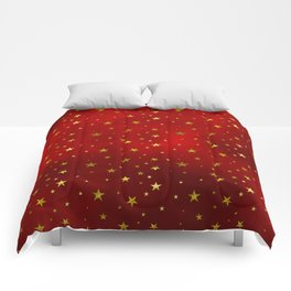 Golden Stars on Royal Red Comforters