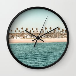 Vintage Newport Beach Print {1 of 4} | Photography Ocean Palm Trees Teal Tropical Summer Sky Wall Clock