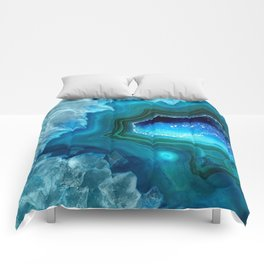 Teal Blue Agate II Comforters