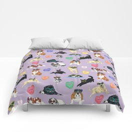 Valentine's Day Candy Hearts Puppy Love - Purple Comforters