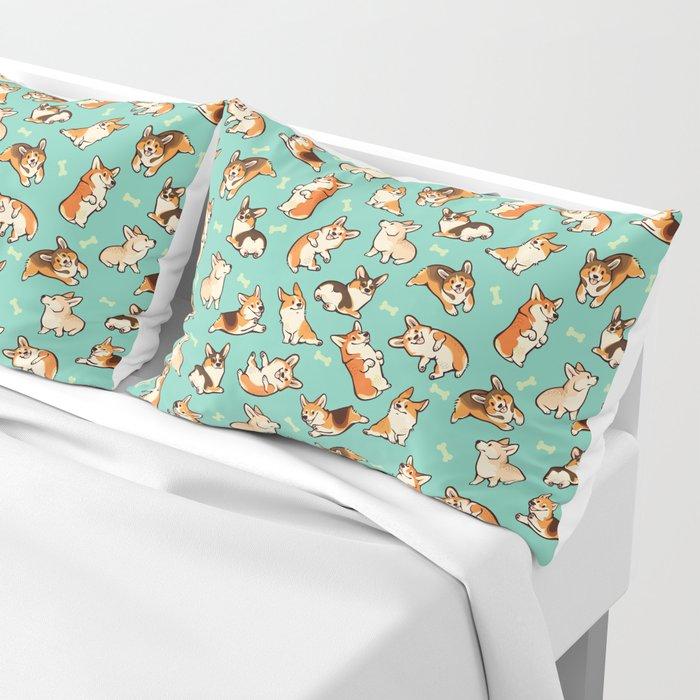 Jolly corgis in green Pillow Sham