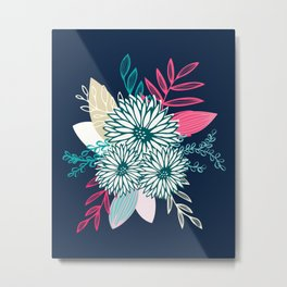 Winter Flowers in Pink and Blue Metal Print