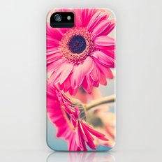 Acid Tongue, Pink Flower on Blue  iPhone (5, 5s) Slim Case