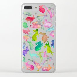Watercolour Bunnies Clear iPhone Case