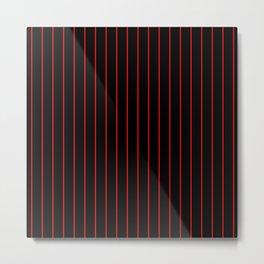 Classic Baseball Pattern Thin Red Stripes on Black Metal Print