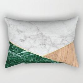 White Marble - Green Granite & Wood #138 Rectangular Pillow