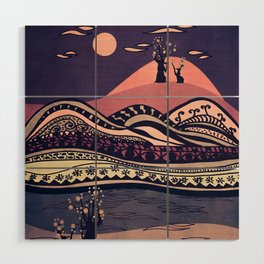 Psychedelic mountains (colour option) Wood Wall Art