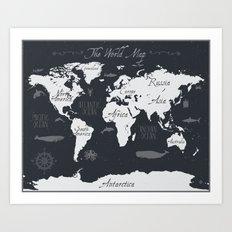 Nautical World Map Art Print