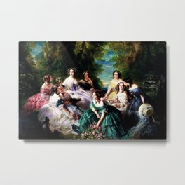 "Franz Xaver Winterhalter's masterpiece ""The Empress Eugenie surrounded by her Ladies in waiting"" Metal Print"