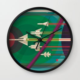 NASA Retro Space Travel Poster #5 Wall Clock