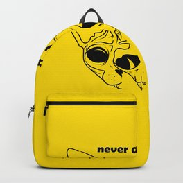 Never a bad hair day - Hairless Sphynx Cat Skull Split in Two - Funny Animal Quote - Line Drawing Wrinkly Kitty - Illuminating Yellow Backpack
