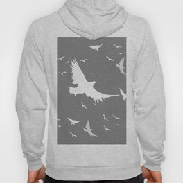 WHITE BIRDS IN FLIGHT GREY ABSTRACT MODERN ART Hoody