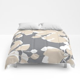 leaves grey and tan Comforters