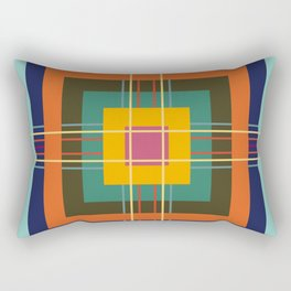 Fine Lines on Retro Colored Squares Rectangular Pillow