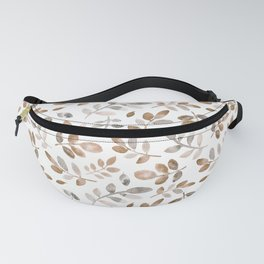 Watercolor brown fall autumn leaves floral Fanny Pack