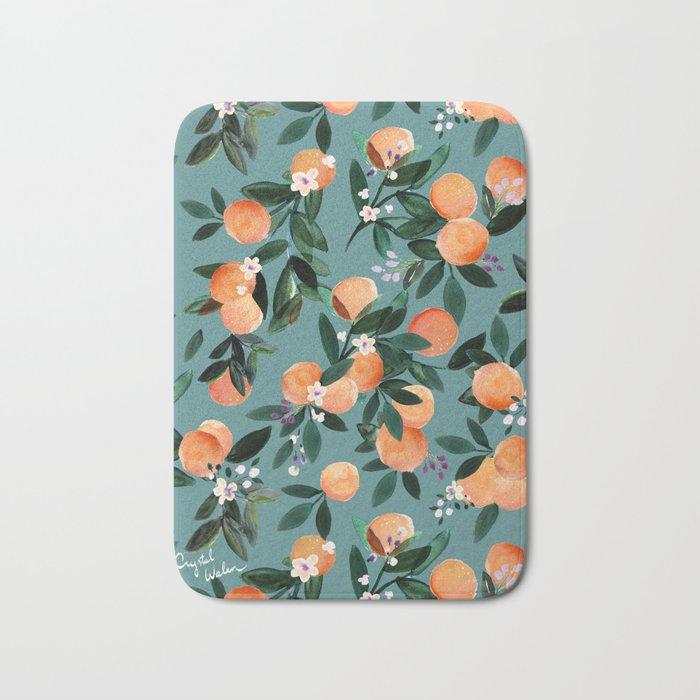 Dear Clementine - oranges teal by Crystal Walen Bath Mat
