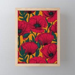 Red poppy garden Framed Mini Art Print