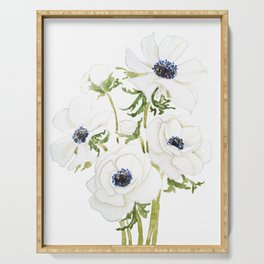 white anemone flower  watercolor painting Serving Tray