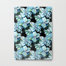 Watercolor Himalayan Blue Poppy in Aqua with Black Background Metal Print