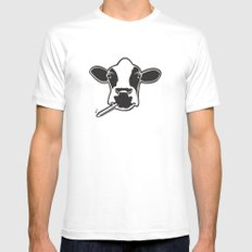 smoking cow MEDIUM White Mens Fitted Tee