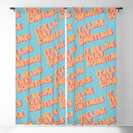"""""""It be like that sometimes"""" Retro Blue Blackout Curtain"""