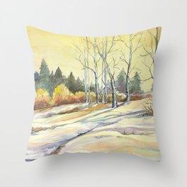 Wyoming Snow Throw Pillow