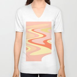 River of dreams, pink and yellow waves, colorful stream of water Unisex V-Neck