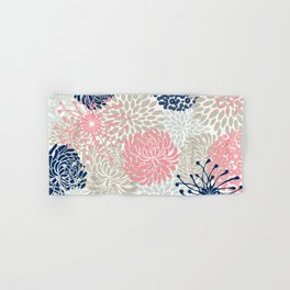Floral Mixed Blooms, Blush Pink, Navy Blue, Gray, Beige Hand & Bath Towel
