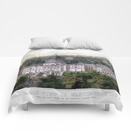 WASHINGTON CAPITOL 1857 city old map Father Day art print poster Comforters