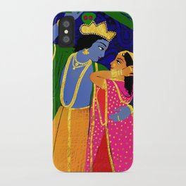 Radha & Krsna Colorful Illustration  iPhone Case